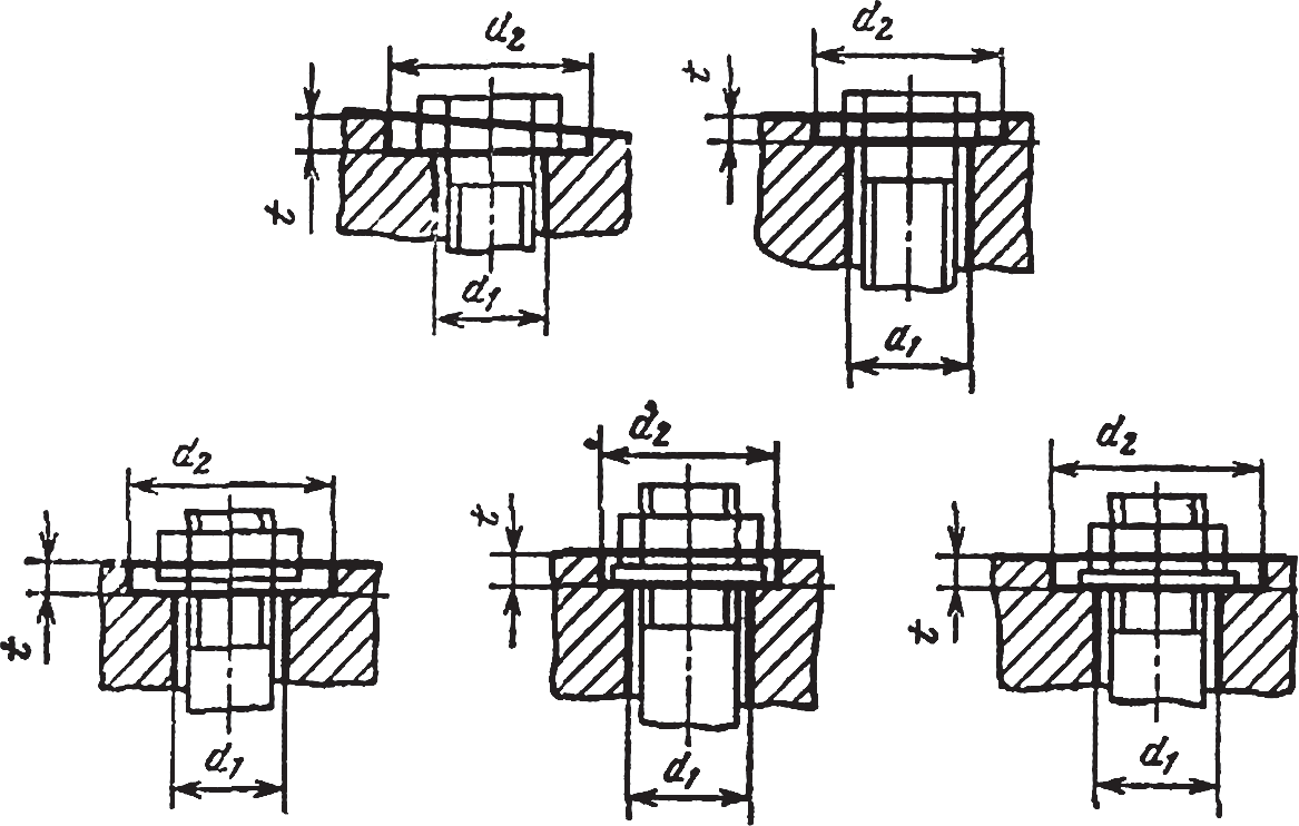Конструктивные размеры опорных поверхностей мест крепления под головки болтов и гайки по ГОСТ 12876-67