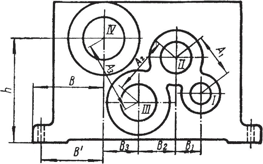 Корпус для свернутой компоновки 3-ступенчатого редуктора