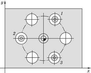 Назначение центра окружности в качестве опорной точки через три отверстия