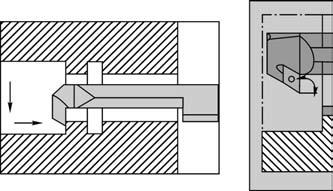 Применение специальных резцов для расточки отверстий большего диаметра со стороны торца, прилегающего к шпинделю