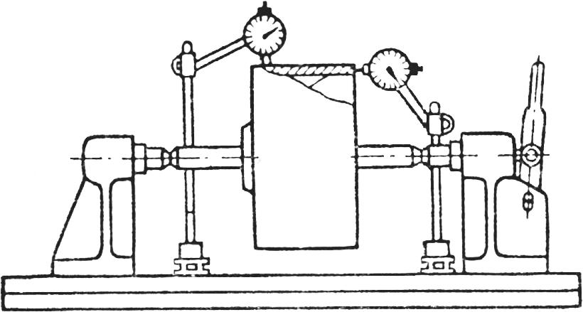 проверка собранного шкива на биение наружной поверхности и биение торца