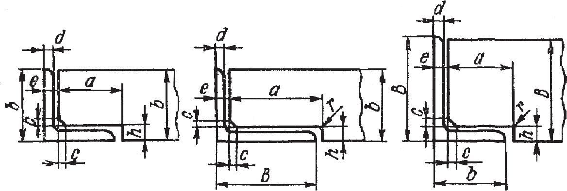 Размеры элементов деталей, примыкающих к уголкам