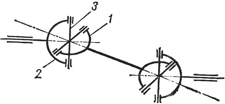 Схема двухшарнирной муфты с разнесенными шарнирами