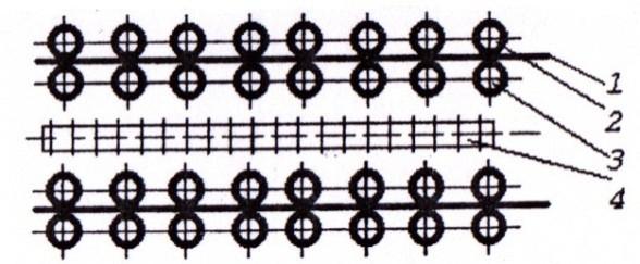 Схема механизма подачи шпона в роликовой паровой сушке типа СУР