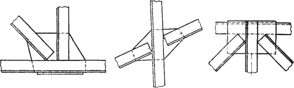 Соединение профилей в узел с помощью косынки с учетом их центров тяжести