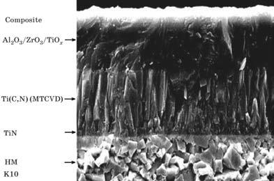 Структура многослойного покрытия для обработки закаленных сталей