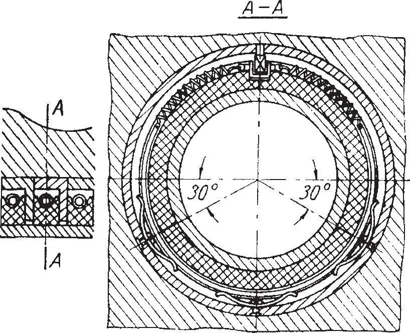 Уплотнение, состоящее из графитовых или текстолитовых разъемных колец