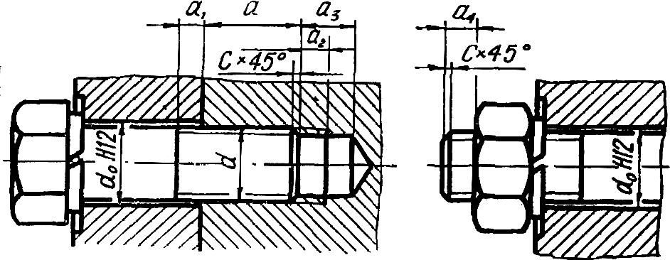 Запас резьбы, глубины сверления и выход конца винта из гайки с метрической резьбой