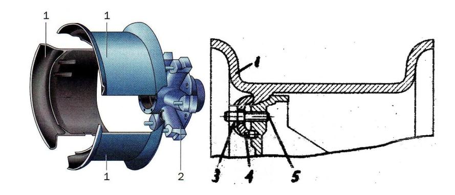 Бездисковое колесо с поперечно-разборным ободом