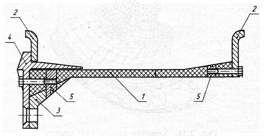 Конструкция колеса с основанием обода из полимерного композиционного материала
