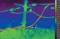 Инфракрасное изображение фрагмента ЛЭП
