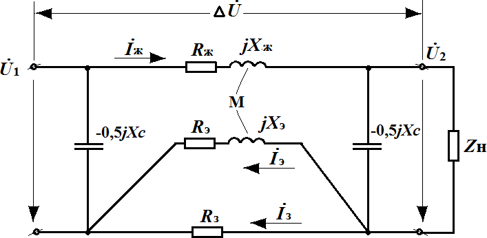 Кабель с изоляцией из сшитого полиэтилена - схема замещения