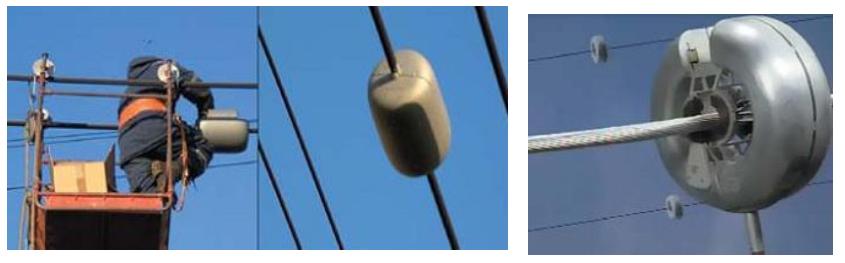 Монтаж измерительного блока на проводах ЛЭП