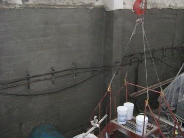 Объекты с нанесенной гидроизоляционной смесью в подвальных помещениях