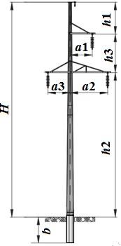 Одноцепная многогранная металлическая промежуточная опора
