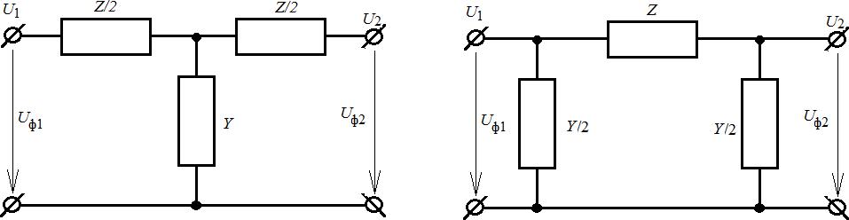 Схемы замещения КЛ с сосредоточенными параметрами