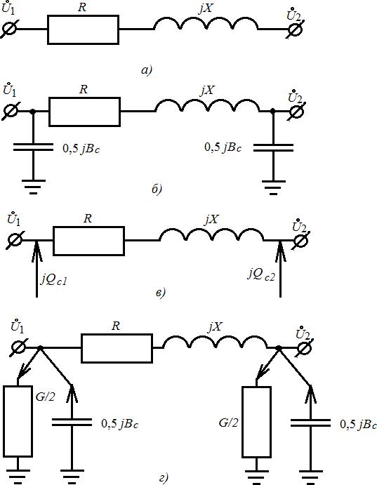 Схемы замещения воздушных линий электропередачи