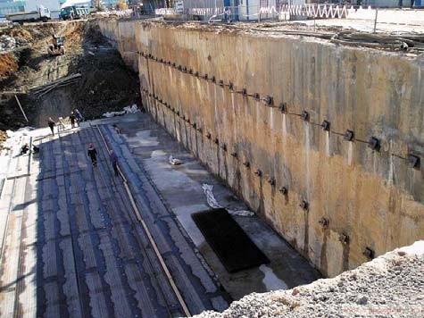 Технология устройства двухъярусной стены в грунте - стена в грунте с бетонными анкерами