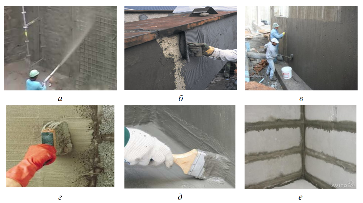 Виды гидроизоляционных покрытий на основе цементных вяжущих