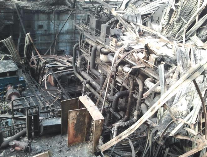 блока ТЭС после пожара
