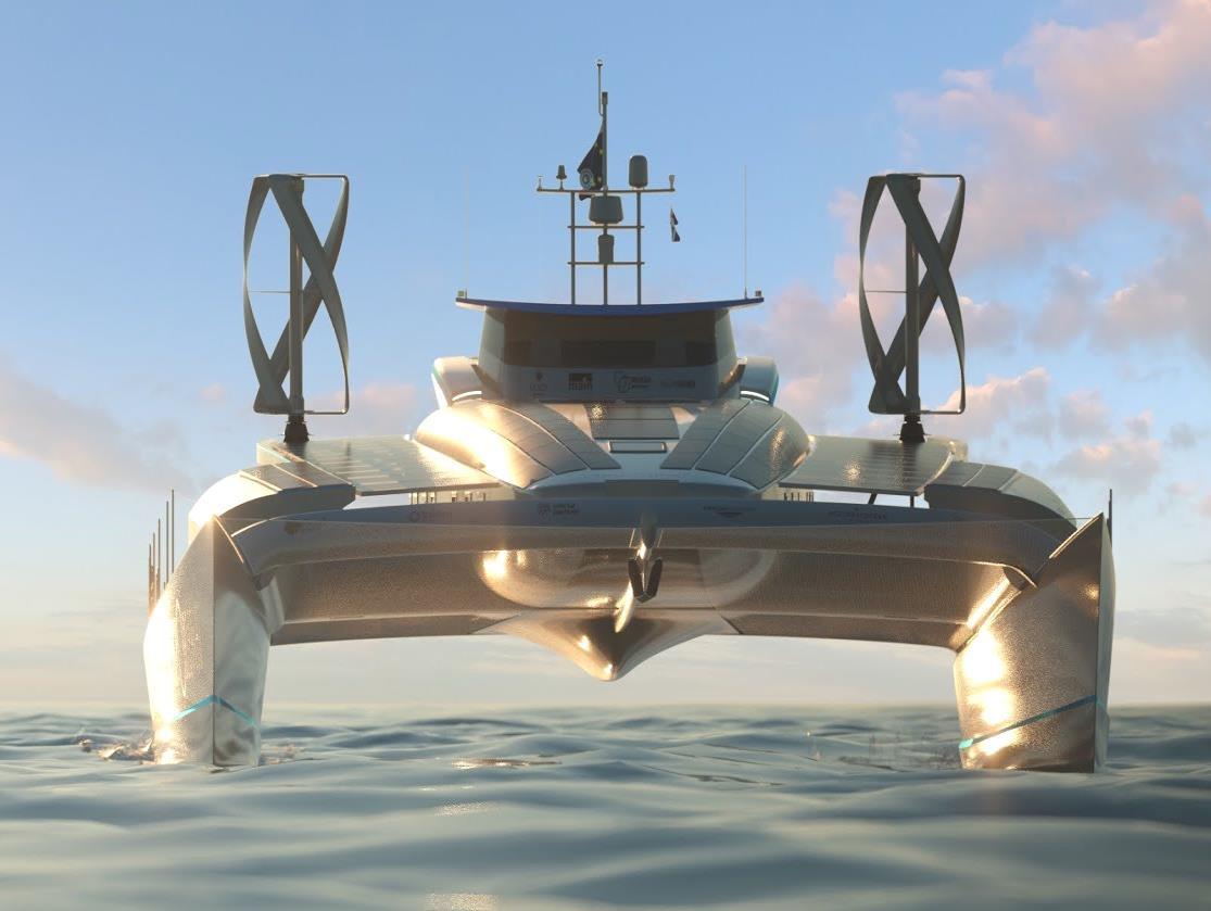 корабль с использованием Фотобатарей (фотоэлектрических модулей)