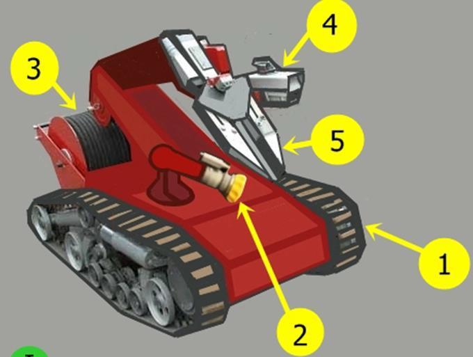 пожарный робот с манипулятором-клешней