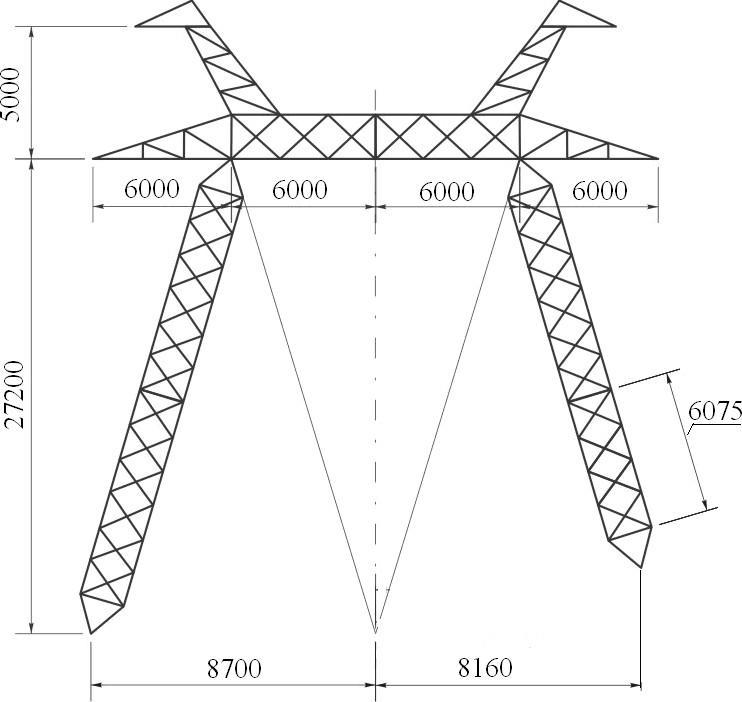 Промежуточные металлические опоры ВЛЭП 750 кВ без оттяжек