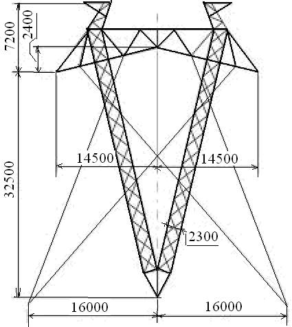 Промежуточные металлические опоры ВЛЭП 750 кВ на оттяжках