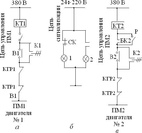 Развернутая схема цепей управления двух сблокированных электродвигателей