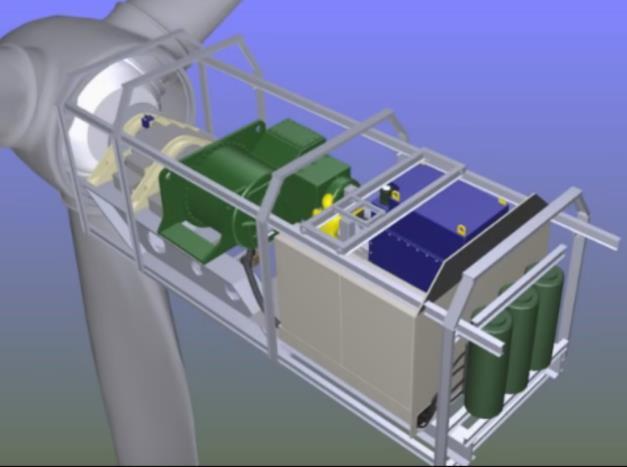Схема компоновки ЭО в гондоле ВЭУ средней мощности с блоком аккумуляторных батарей
