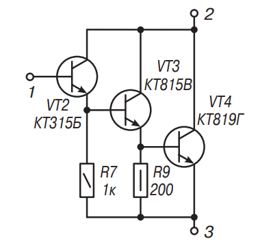 Схема составного транзистора