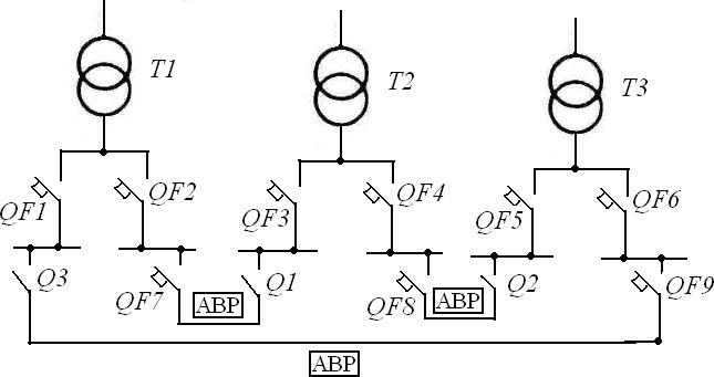 схема трех-трансформаторной подстанции
