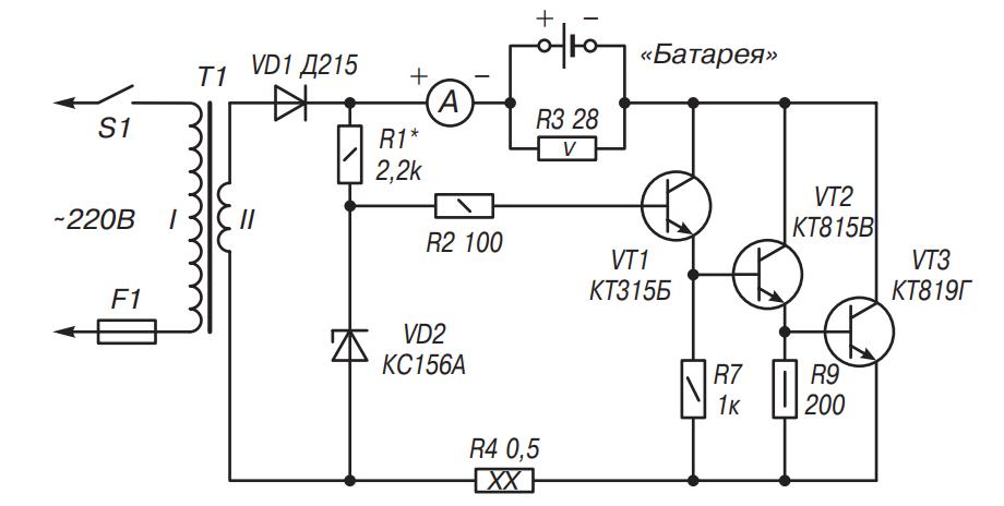 Схема заряда аккумулятора асимметричным током