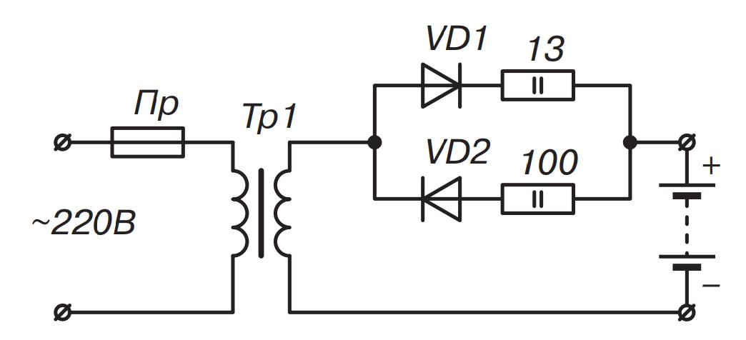 Схема зарядного устройства элемента