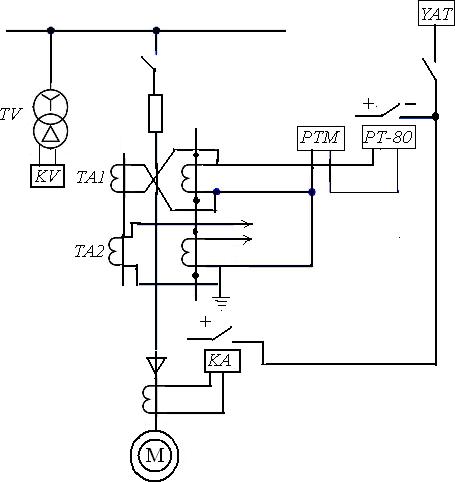 Схема защиты асинхронного двигателя от понижения или исчезновения напряжения