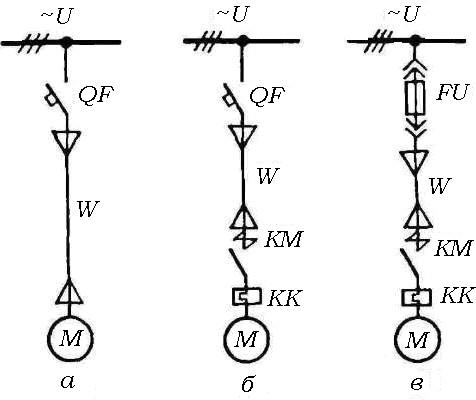 Схемы защит асинхронного двигателя