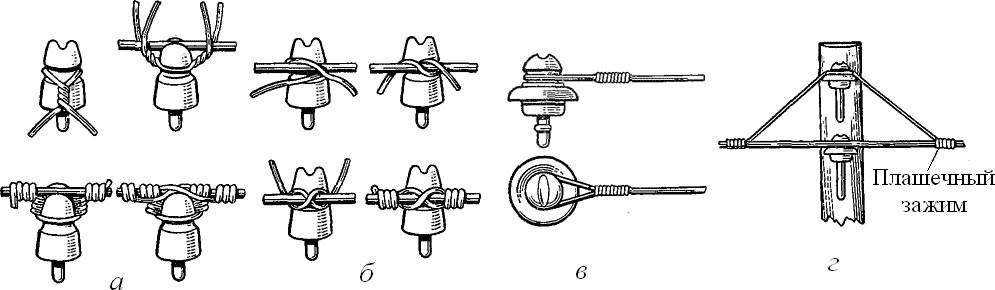 Способы крепления проводов ВЛЭП напряжением до 1 кВ на изоляторах