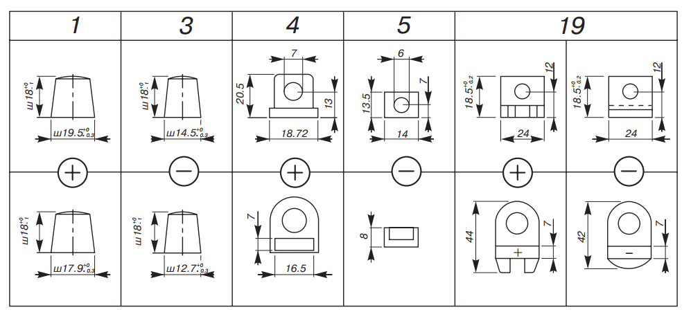 Типы выводов зарубежных аккумуляторов