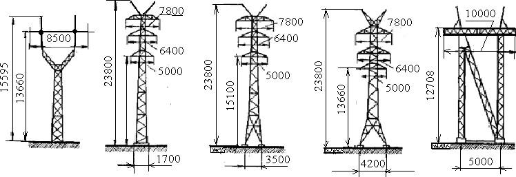виды стальных опор ВЛЭП напряжением 220 кВ