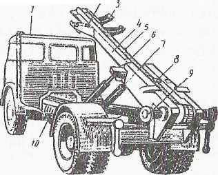 Шасси, оборудованное системой съема кузова фирмы Hydraulex