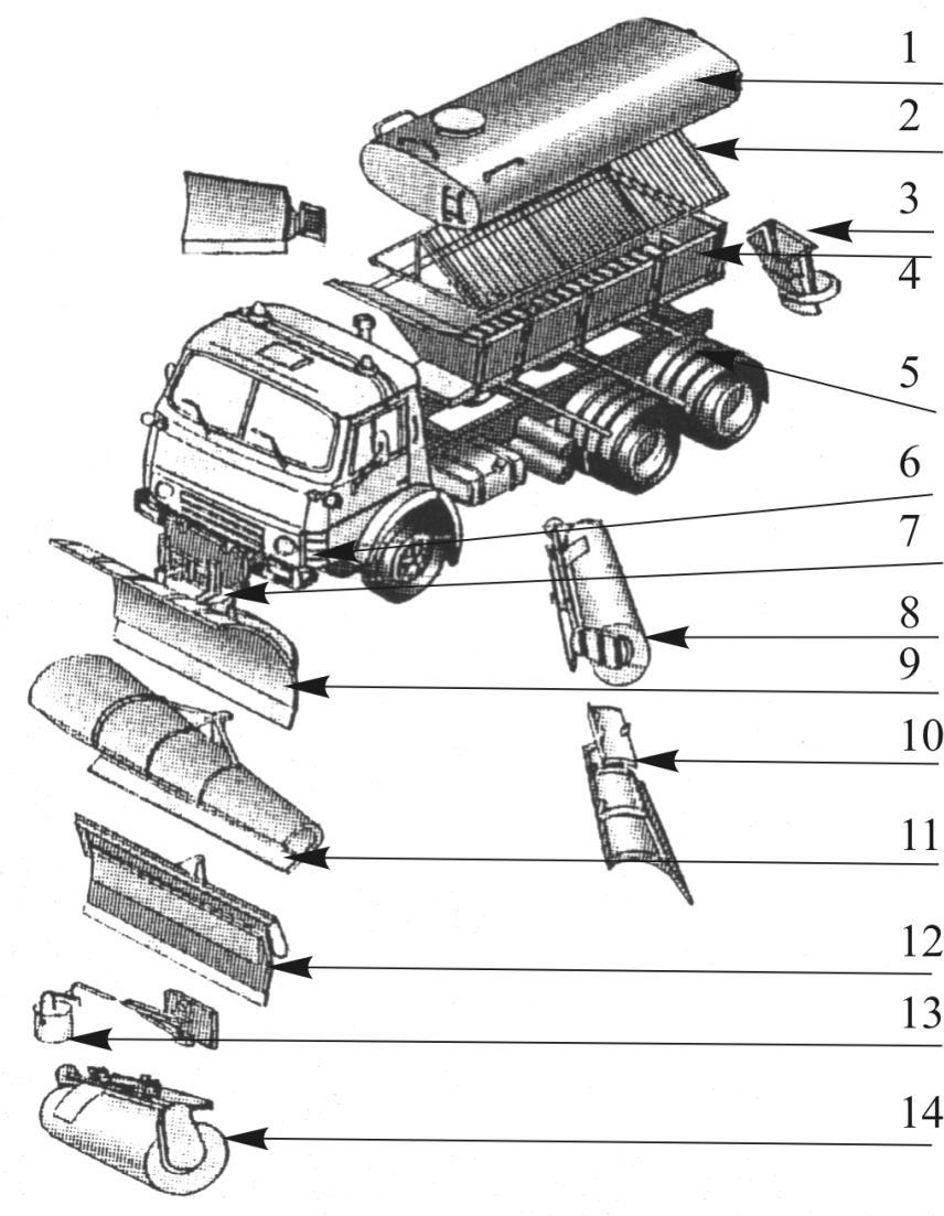 Схема комбинированной дорожной машины КО-829Б