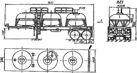 схема полуприцепа-цистерны ЕД-20,5-1