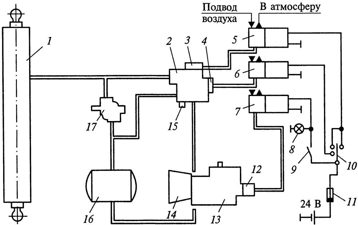 Схема привода управления подъемным механизмом самосвалов КамАЗ