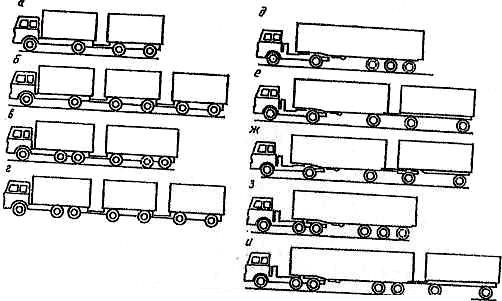 схемы автопоездов по количеству транспортных звеньев