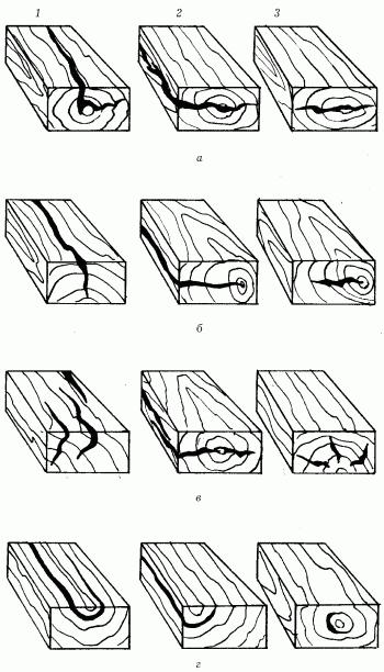 Типы трещин в древесине