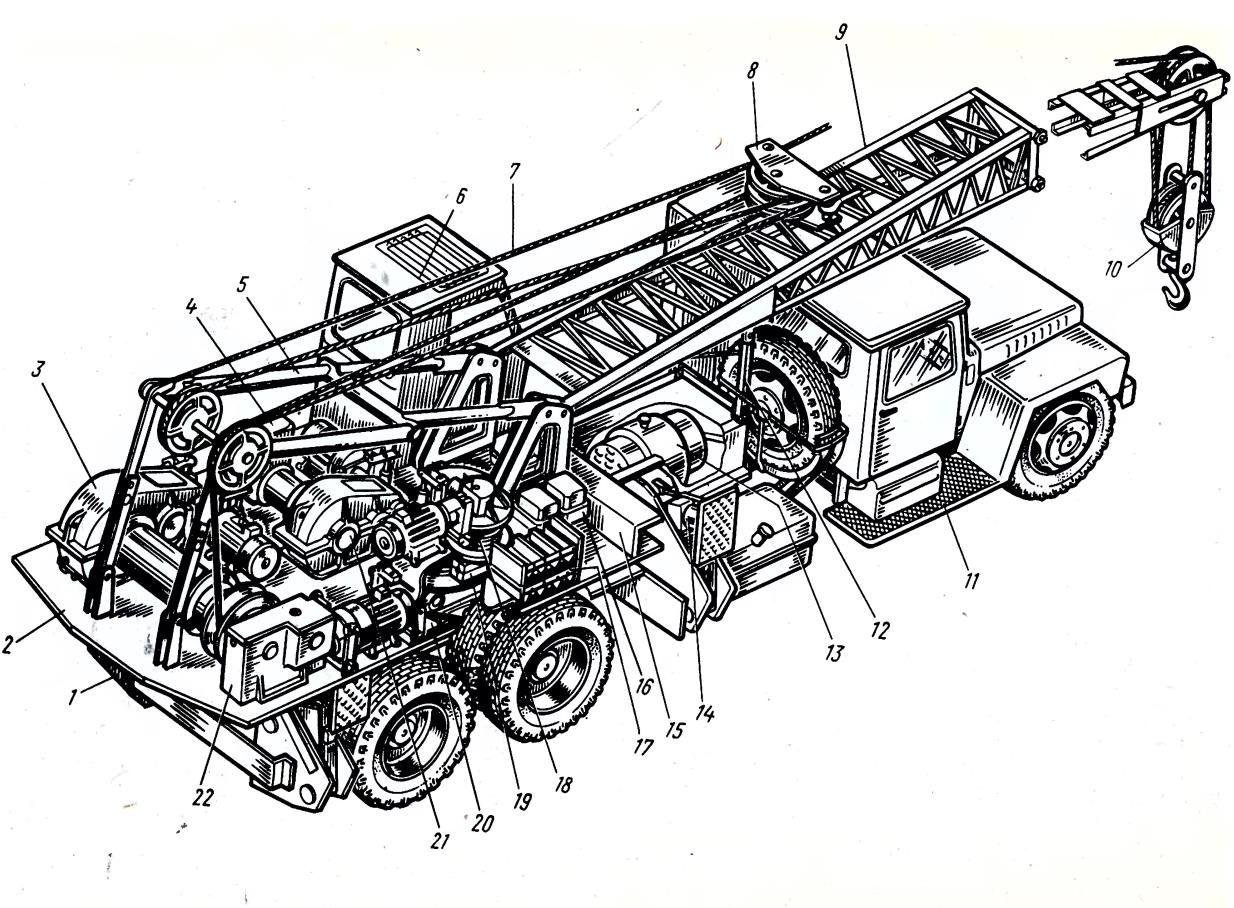 Устройство автокрана КС-4561А с электроприводом