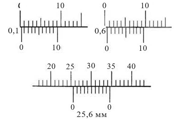 Пользование шкалами штангенциркуля