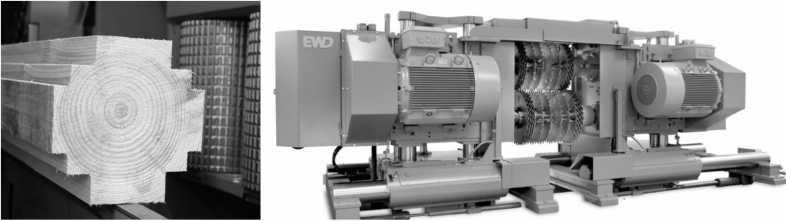 Профилированный брус перед раскроем и многопильный станок EWD VNK300