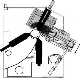 Схема бесшпиндельного лущильного станка