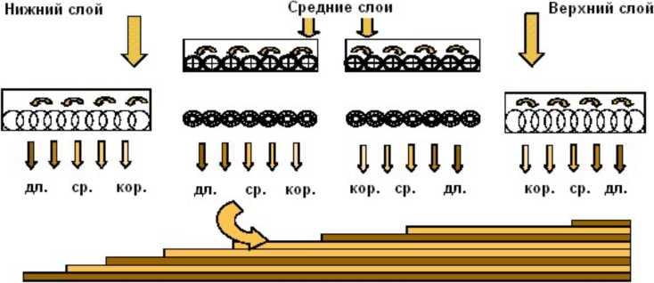 Схема формирования плит из крупномерной ориентированной стружки (OSB)